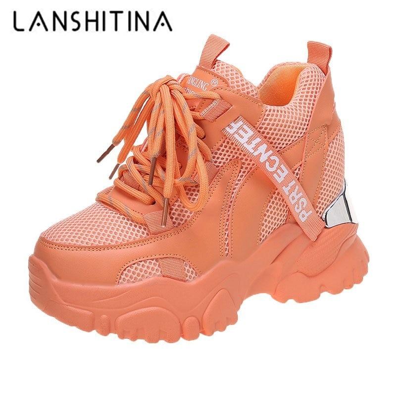 2021 الربيع النساء أحذية رياضية مكتنزة تنفس شبكة حذاء كاجوال 10 سنتيمتر إسفين الكعوب أحذية منصة chausiras فام رياضية أبي الأحذية