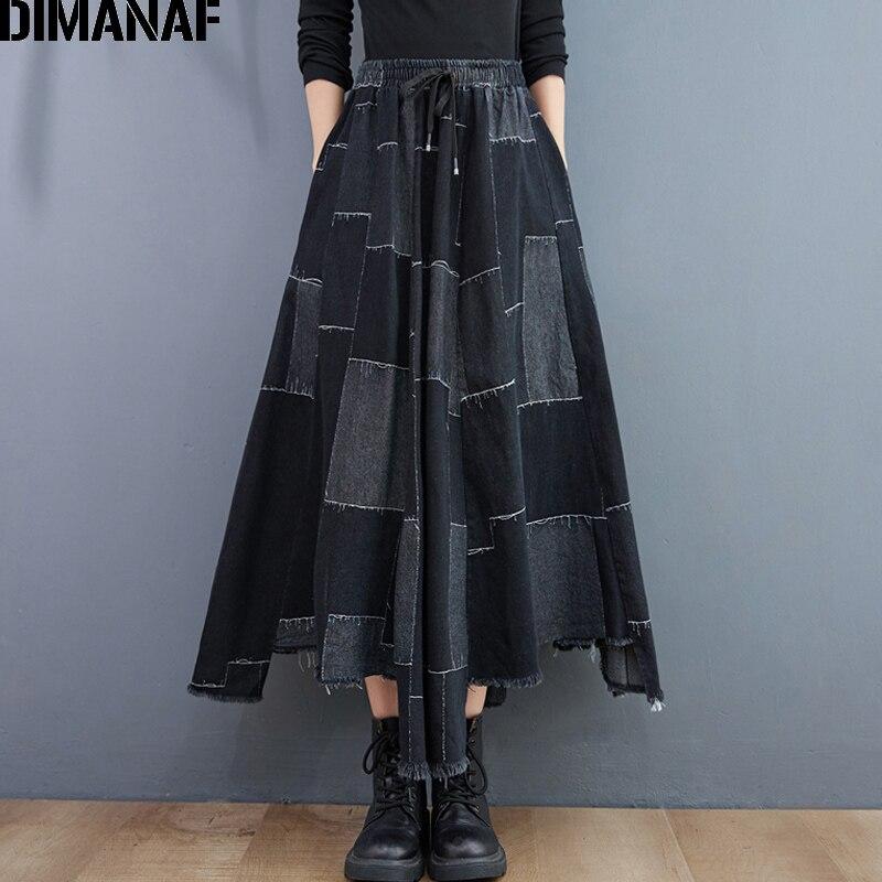 ملابس نسائية من DIMANAF تنانير جينز من القطن الدنيم مقاس كبير فضفاض عتيق للسيدات مرقع بالأسى خريفي شتوي أسود