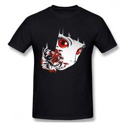 Homem inferno menina ai enma anime série preto camiseta rosto puro algodão t harajuku tshirt