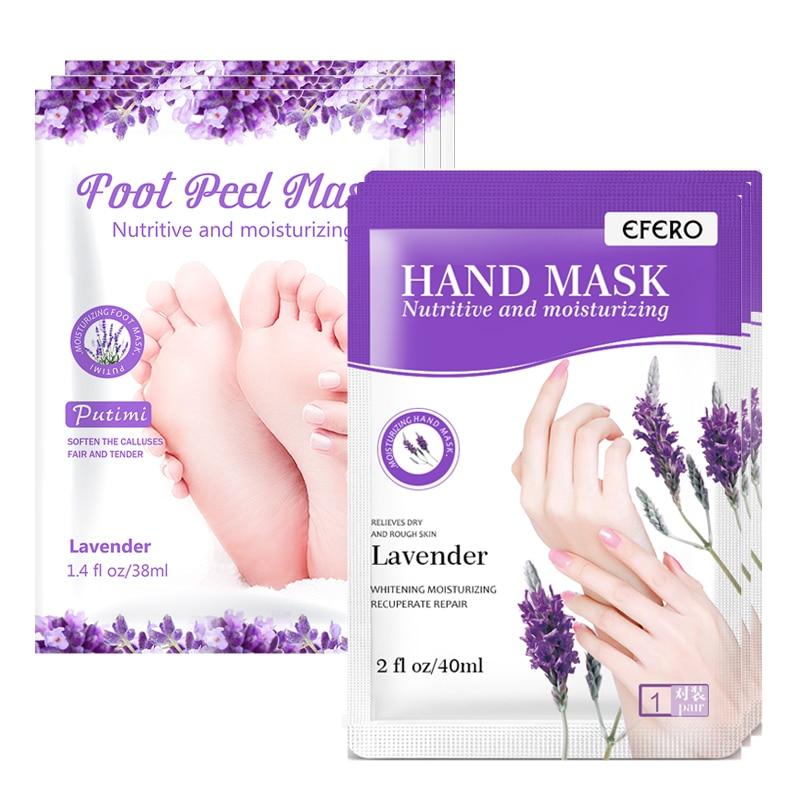 2 par de lavanda esfoliante pé máscara remendos meias remover a pele morta nutritivo hidratante máscaras de mão luva spa cuidados com a pele