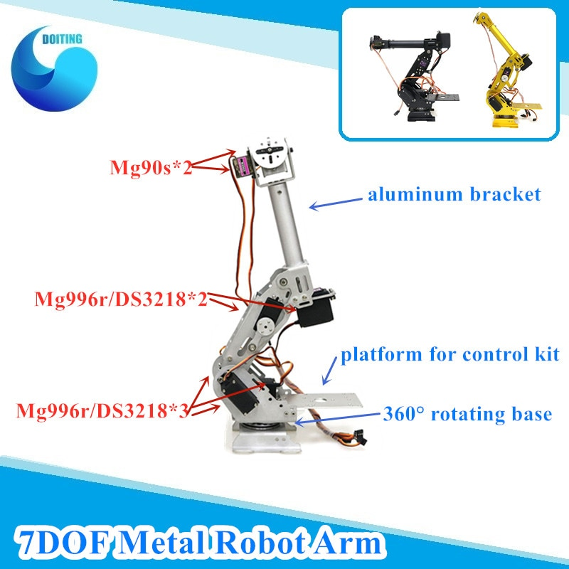 7 Dof Robot brazo de Metal Manipullator brazo mecánico estructura de aluminio para Arduino Robot Educativo modelo DIY Kit de aprendizaje
