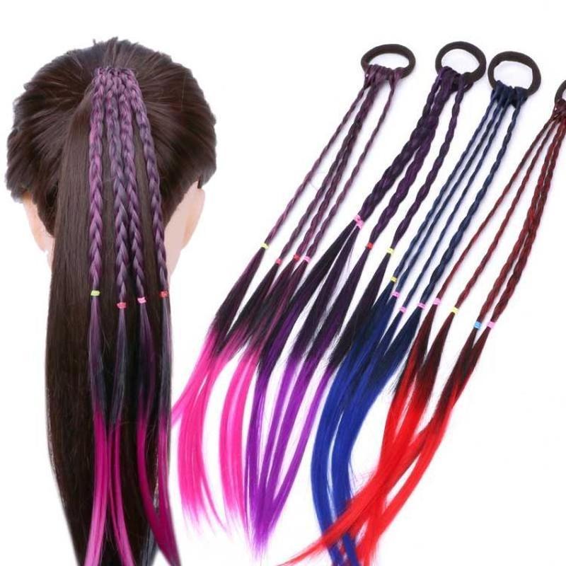 Peluca colorida para niñas con cola de caballo, adorno de peluca, diadema, gomas de pelo, diademas, trenza trenzada para niños, accesorios para el cabello, cuerda