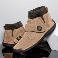 mens outdoor casual mid cut shoes fashionable and personalized leather large size trendy shoes mens handmade shoes