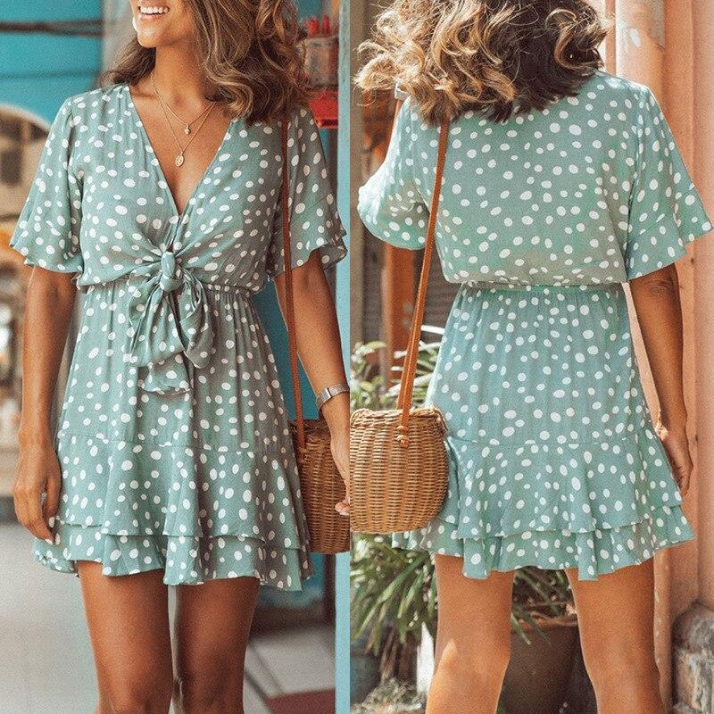 Women's European and American loose short sleeve V-neck printed dress mini dress  women dresses summer 2020
