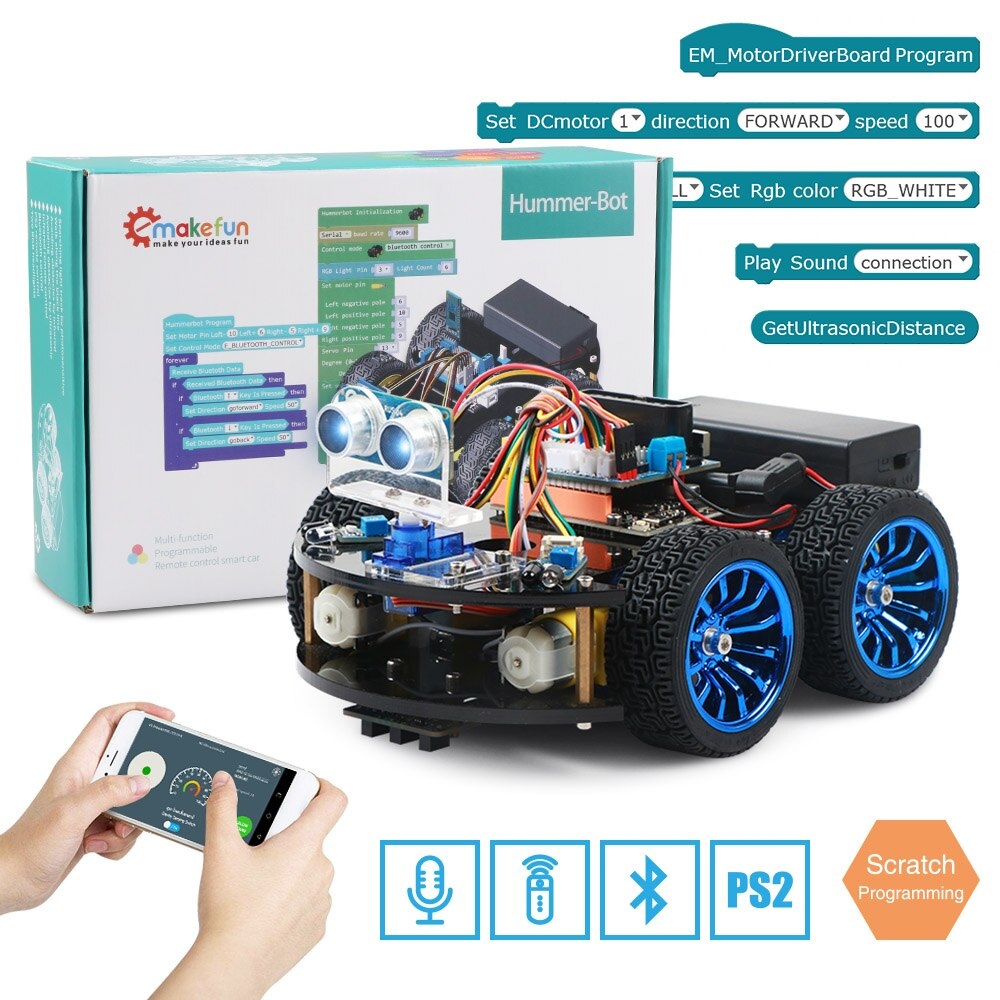 4WD Smart Robot Car Diy for Arduino R3,Support Scratch Library,Starter Robotics Learning Kit APP RC STEM Toy Kid
