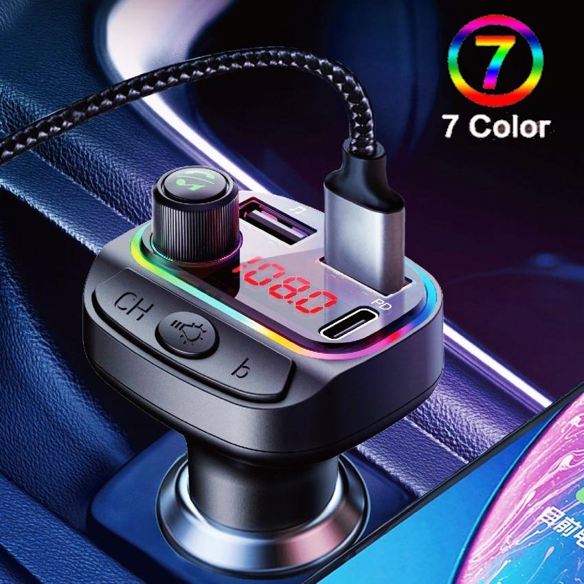 Автомобильный аудиоплеер с цветными лампами, Bluetooth 5,0, FM-передатчик, U-диск, Автомобильный MP3-плеер с двумя USB-портами, быстрое зарядное устрой...