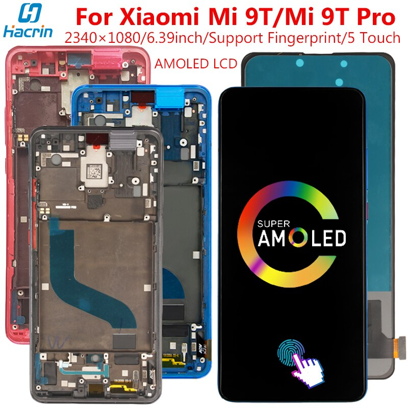 Amoled LCD Display For Xiaomi Mi 9T Display With Frame&Fingerprint 5 Point Touch Screen Replacement For Xiaomi Mi 9 T Mi 9T Pro amoled lcd display for xiaomi mi 9t display with frame