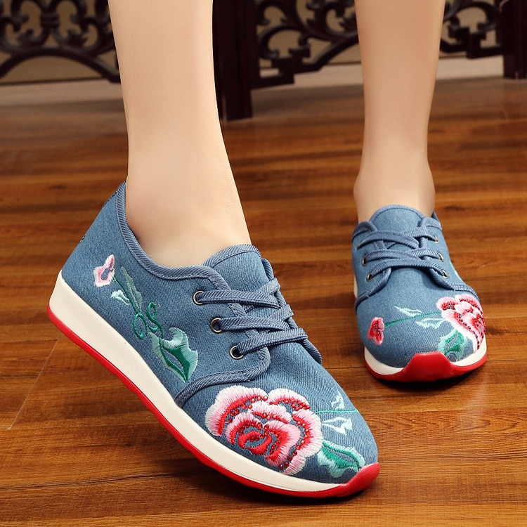 increased wedge sole women embroidered sports shoes female brand running shoes girls indoor fitness