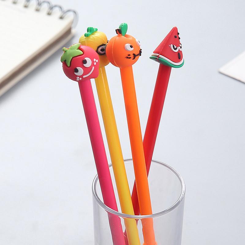 Fruta original la pluma de Gel creativo de dibujos animados lindo pluma de mascota en polvo Gel pluma chica estudiante examen con bolígrafo negro firma de oficina pluma