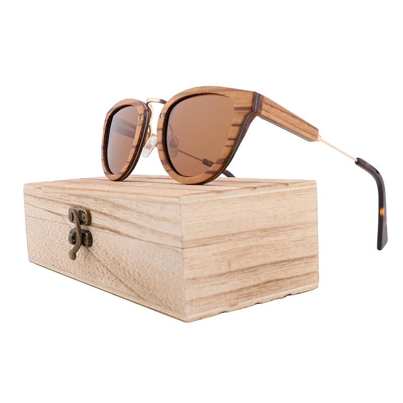 Zebra Wooden Interlayer Sunglasses Natural Wood Fashion Polarized Light for Ladies Rayban Women Bamboo Солнечные очки.