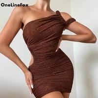 onelinefox womens single shoulder mesh dress cut hole diagonal collar zipper 2layer ruched mini bodycon vestido summer dress