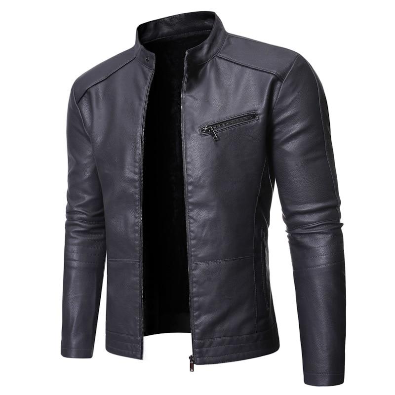 2020 outono e inverno novos produtos masculino gola de pé all-match personalidade lavado jaqueta de couro