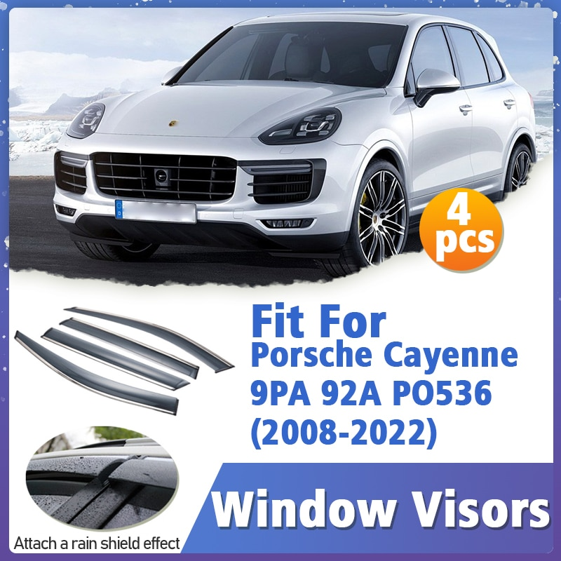 Window Visors Guard for Porsche Cayenne  9PA 92A PO536  2008-2022 Cover Trim Awnings Shelters Protection Deflector Rain Rhield
