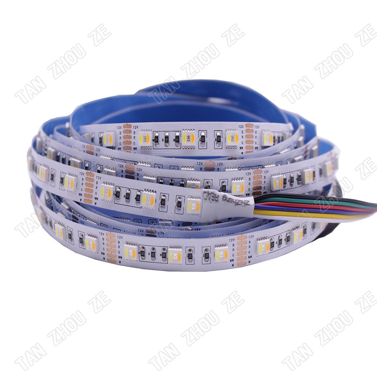 RGBCCT tira de LED de 5050 12 V/24 V 5 Color en 1 Chips RGB + WW + CW 60 LEDs/m 5 m/lote RGBW LED tira de luz 5 m/lote 12MM PCB 300 LEDs/5 m