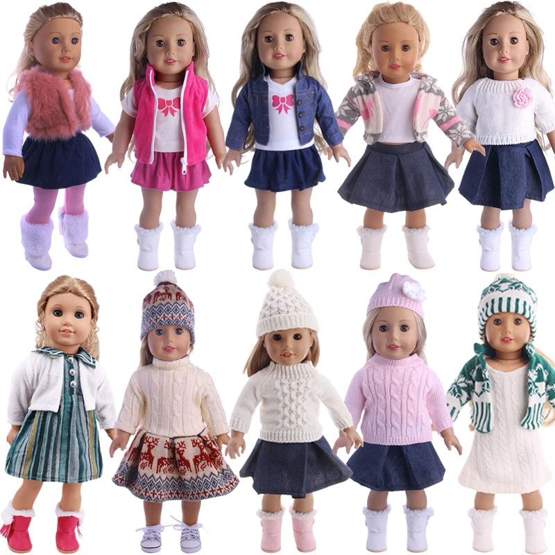 AliExpress - Doll Clothes 3pcs/Set T-shirt/Hat+Knitted Sweater+Skirt Suit For 18 Inch American&43CM Reborn Baby New Born Doll ,Girl's Toy DIY