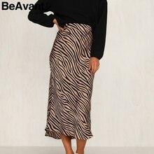 BeAvant zèbre rayure femmes jupe midi taille haute droite imprimé animal femme bas jupe loisirs fête boîte de nuit dames jupe
