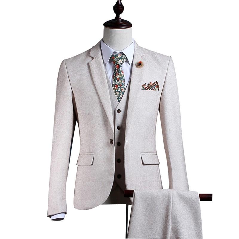 طقم بدلة رجالي من التويد الأبيض مقاس صغير مناسب للشتاء لطيف للحفلات الراقصة والزواج توكسيدو 3 قطع من Terno Masculino((جاكيت + بنطلون + سترة)