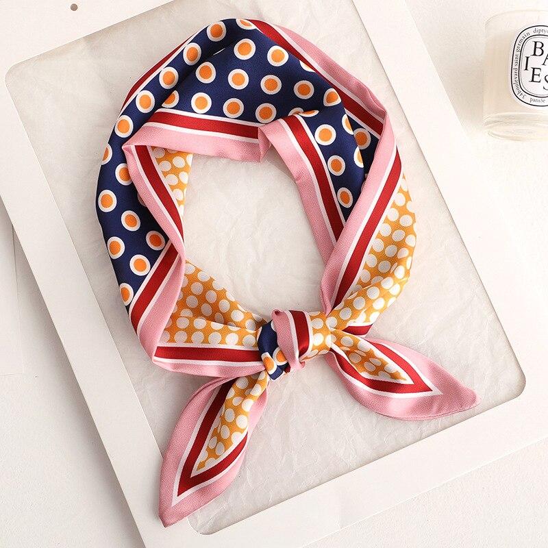2020 Designer Women Dot Small Silk Scarf  Handle Bag Ribbons Foulard Female Head Scarves Wrap For La