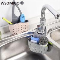 1pcs Kitchen Tools Organizer Adjustable Snap Sink Soap Sponge Kitchen Accessories Kitchen Hanging Drain Basket Kitchen Gadgets-S