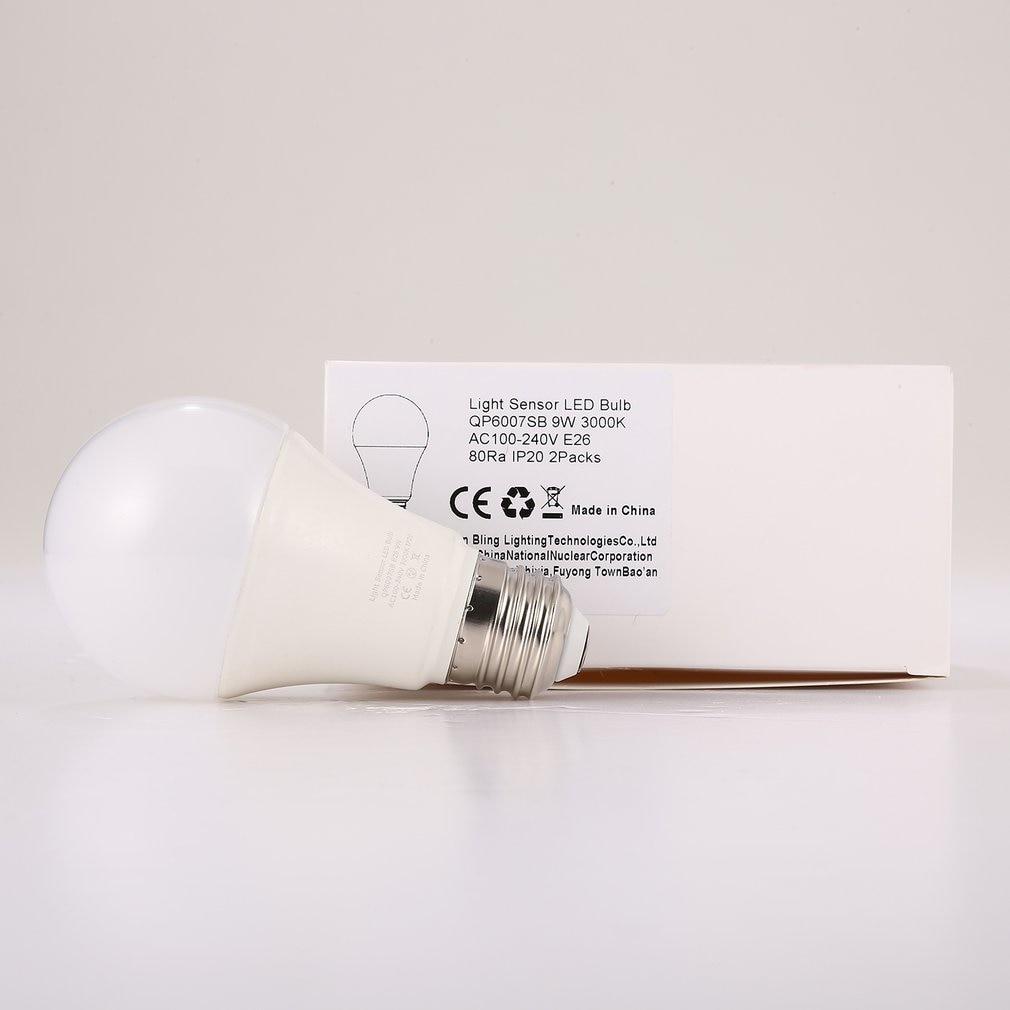 9W E26 bombilla LED con Sensor de luz inteligente 3000K con interruptor automático lámpara de exterior/interior con detección de fotosensor incorporado