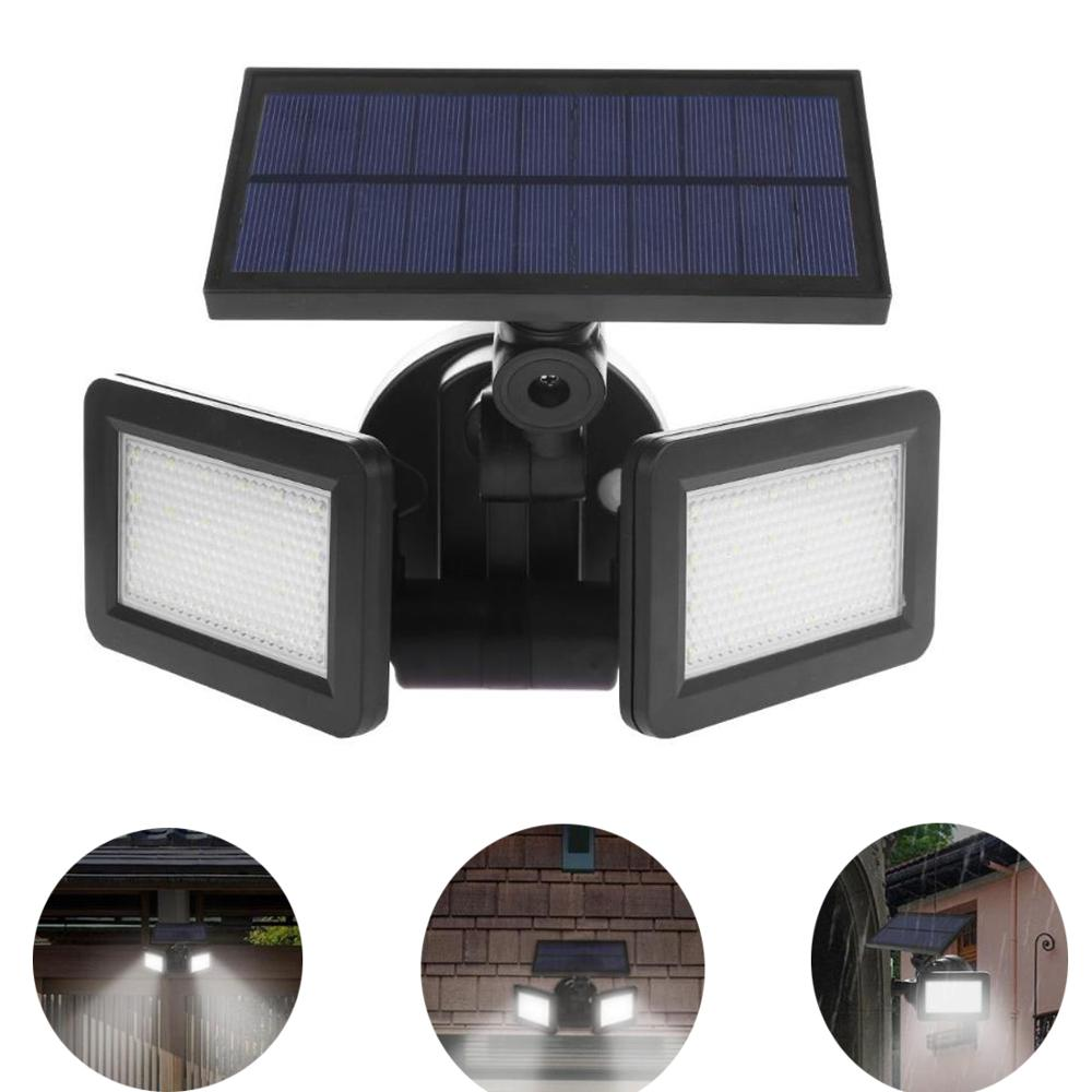 22/48LED doble cabeza de luz Solar Sensor de Radar proyector impermeable al aire libre Solar jardín luz Super brillante de inundación lámpara LED