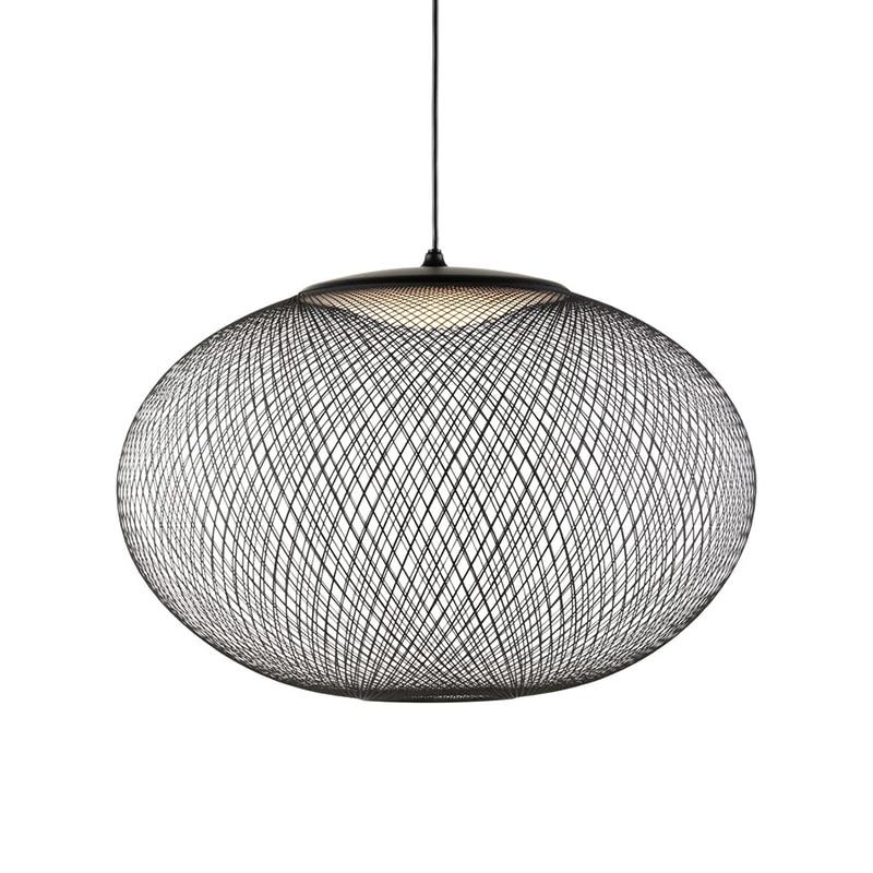 مصباح معلق LED بتصميم بيضاوي بسيط ، أسود/أبيض ، على الطراز الاسكندنافي ، قفص حديدي ، تركيبات إضاءة للمطعم ، قاعة المعارض ، الفن