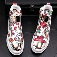mr co british men trendy flowers zipper casual flats high tops shoes male wedding moccasins loafers sapato social masculino