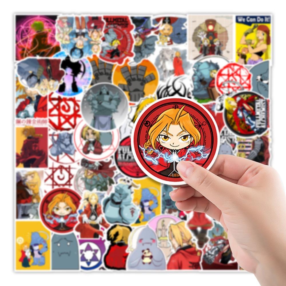 10/30/50PCS Fullmetal Alchemist Sticker Toy Gifts for Kid Cartoon Anime Stickers Stationery Laptop Phone Guitar Skateboard Decal