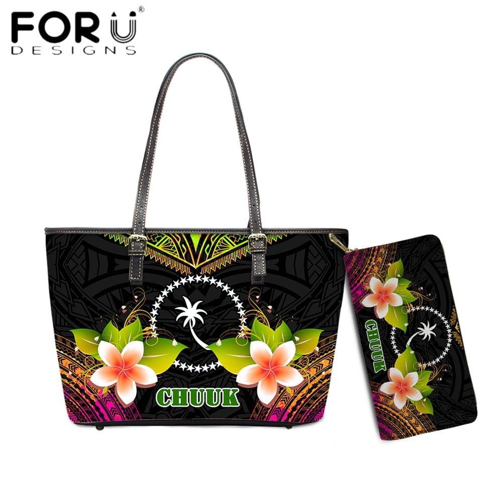 FORUDESIGNS Luxury Design Lady Handbag Chuuk Polynesian Plumeria Flower 3D Printing Brand Designer W