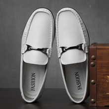 Genuine Leather Loafers Men's Shoes Fashionable Breathable Casual Shoes Man Luxury Flat Loafer Slip