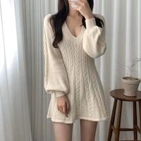 womens clothing 2021 autumn winter korean fashion v neck twist vintage chic knit mini dress pink khaki vestidos