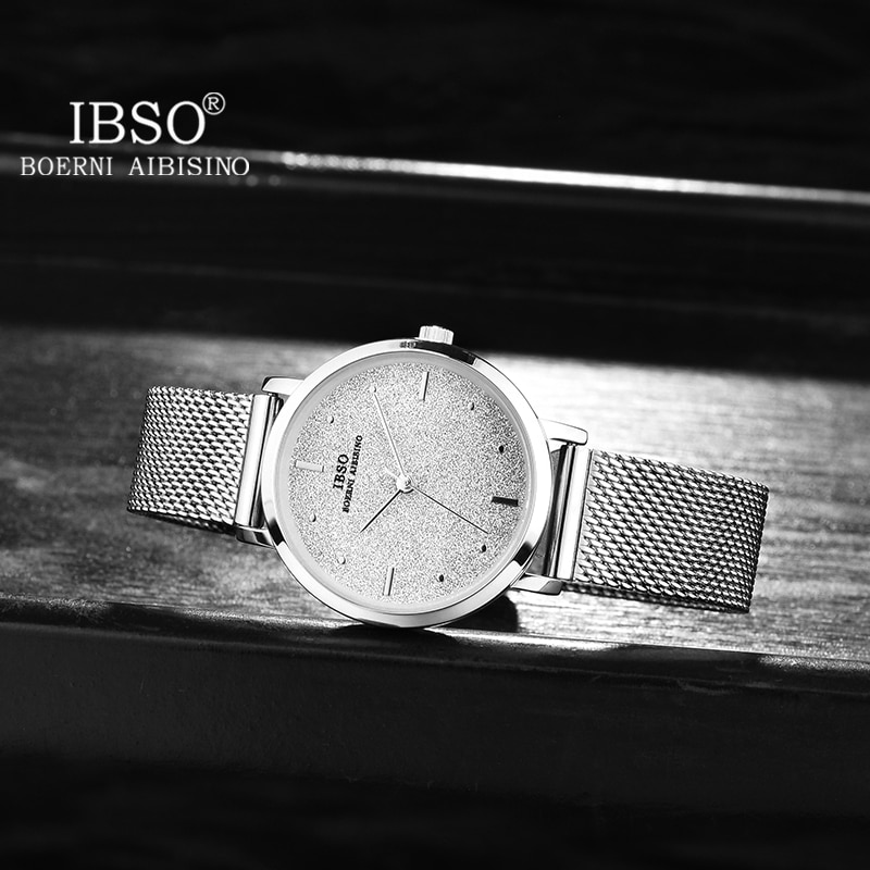 IBSO 2021 New Women's Quartz Watches Rose Gold Stainless Steel Strap Watch Matte Texture Japan Movement Simple Watch Ladies