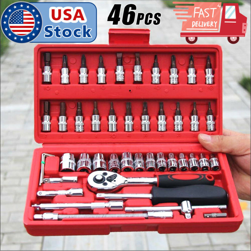 46pcs 1/4 Ratchet Wrench Combination Package Socket Tool Set Auto Car Repairing