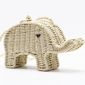 Cartoon Elephant Straw Handbag Chic Women's Shoulder Messenger Bag Beach Woven Mini Cute Casual Crossbody Purse