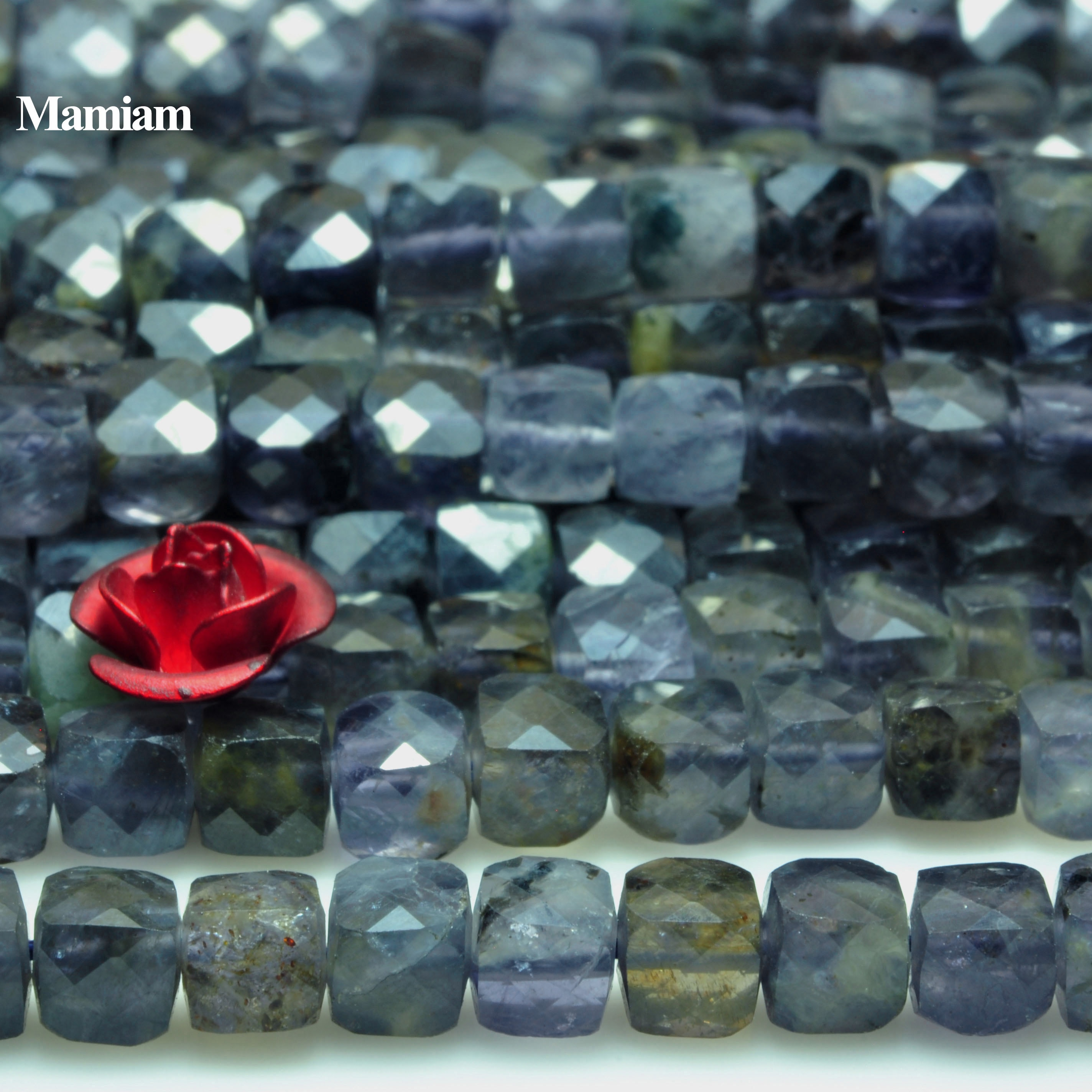 Mamiam الطبيعية Iolite حجر الأوجه ساحة Charms الخرز 4 +-0.2 مللي متر سوار من الأحجار الكريمة قلادة Diy بها بنفسك صنع المجوهرات هدية تصميم