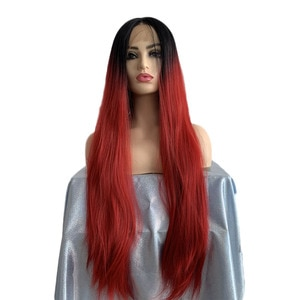 Long Straight Lace Front Wig Ombre Black Root to Red Middle Part Hair Heat Resistant Fiber Cosplay Synthetic Wig for Women 26''