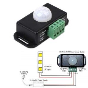 تيار مستمر 12 فولت 24 فولت 8A التلقائي قابل للتعديل PIR محس حركة التبديل الأشعة تحت الحمراء للكشف عن مفتاح الإضاءة وحدة ل LED قطاع ضوء مصباح