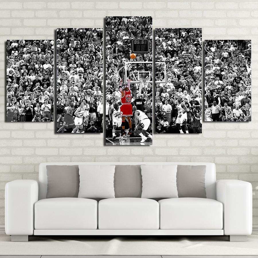 Michael Jordan Canvas Painting Modular Wall Pictures Art HD Prints 5 Piece Canvas Art Poster for Kids Boy Bedroom Art Decoration
