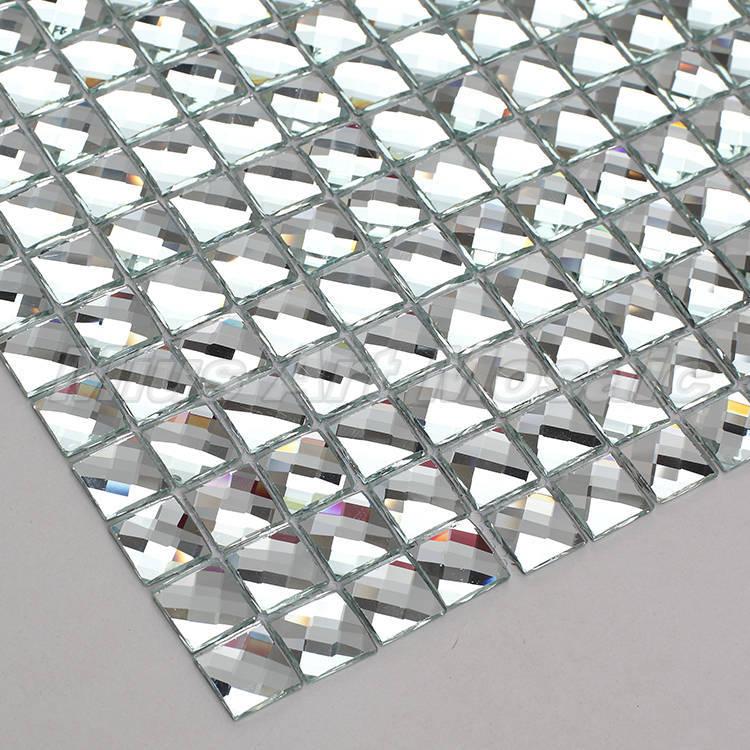 13 bordes espejo biselado mosaico de vidrio de diamante azulejos para pared showeroom KYV vitrina mural DIY decorar
