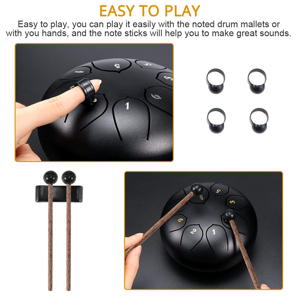 Tongue Drum 6 Inch 8 Tune Steel Hand Pan Drum Tank Drums With Drumsticks Carrying Bag Percussion Instruments Handpan Gift enlarge