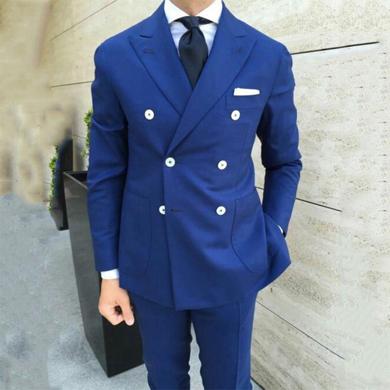 2020 azul mans ternos para o casamento noivo usar smoking melhor homem ternos negócios dinnner ternos peaky blinders 2 peças (jaqueta + calças)