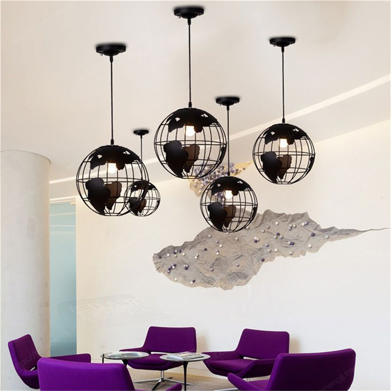 Preto moda loft continental único globo retro lustre moderno metálico lounge café casual lâmpada do teto