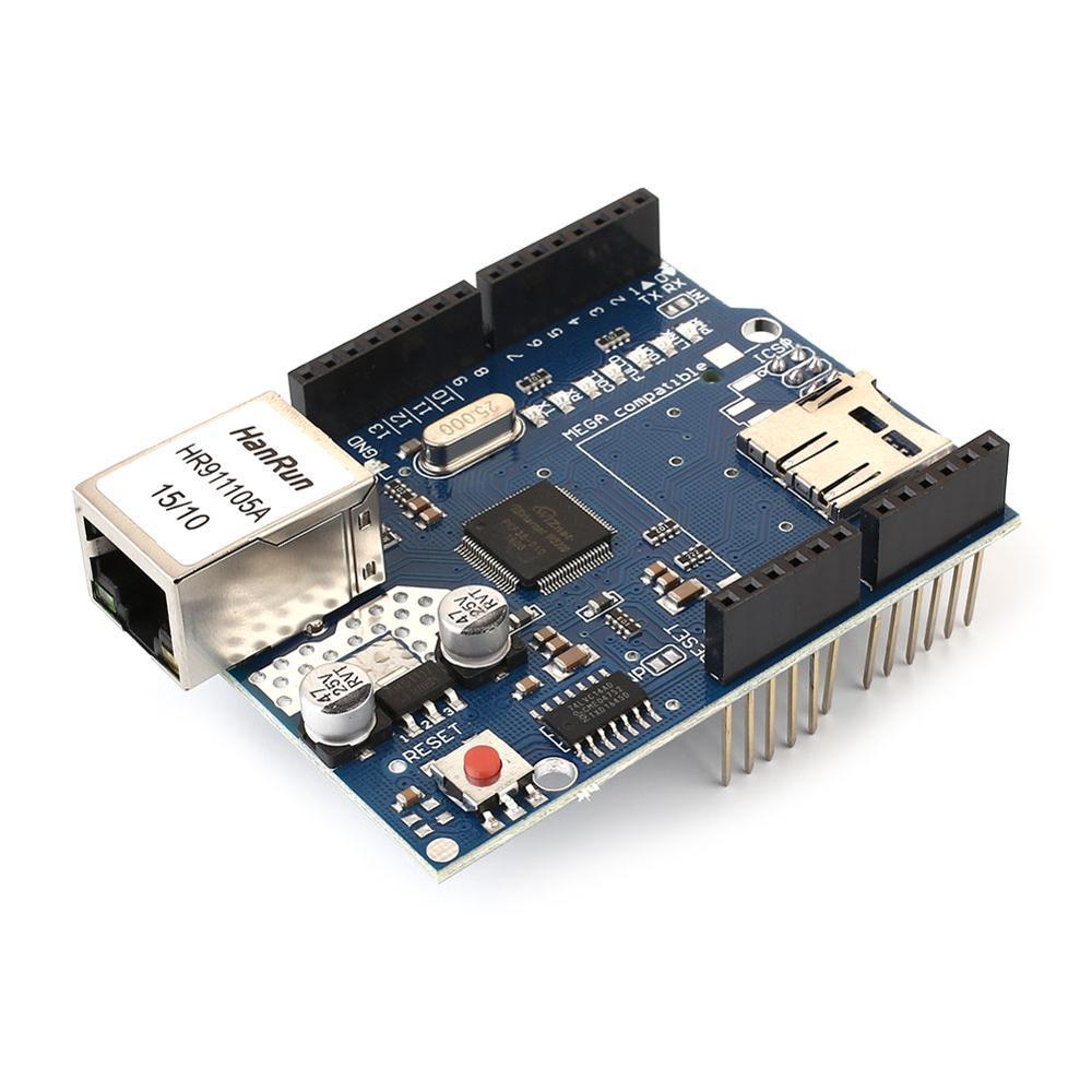 Tarjeta de expansión de red Ethernet W5100 tarjeta SD para leer y escribir interfaces digitales y analógicas y otras aplicaciones de red F