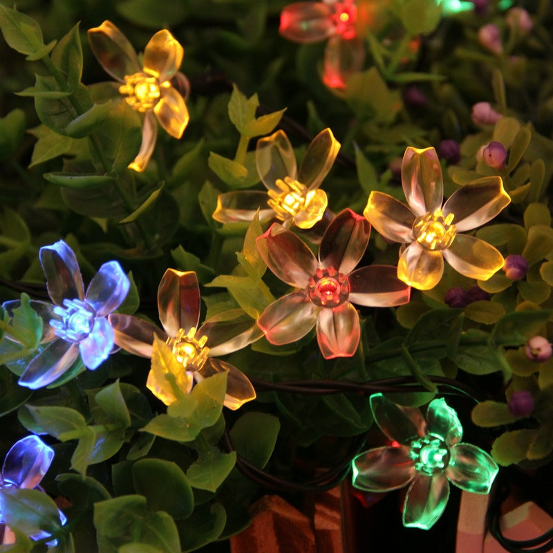 Solar light string light LED Cherry Blossom Lamp Outdoor Fence Rooftop Hallway Decoration String Light Christmas Tree Decoration