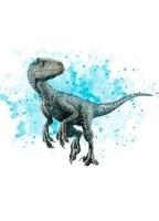 Lot daffiches en soie imprimees style nordique  art deco avec animaux  tyrannosaures  dinosaures  couleurs deau  decoration murale pour la maison