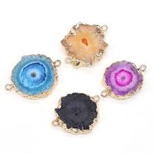1PC Quartz naturel pendentif connecteur Agates Druzy pendentifs pierre gemme fait à la main bijoux faisant breloque boucle doreille Bracelet à bricoler soi-même