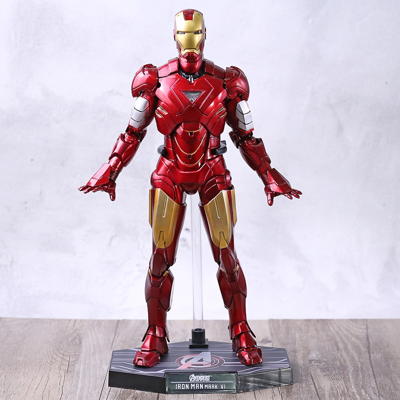 MMS 171 los Vengadores Iron Man 2 Mark VI 6 PVC figura de acción colección modelo de juguete con luz LED