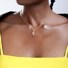 Colliers avec pendentifs en Zircon cubique, bijoux couleur or, Mini pendentif en lettres brillantes, A-Z colliers initiaux