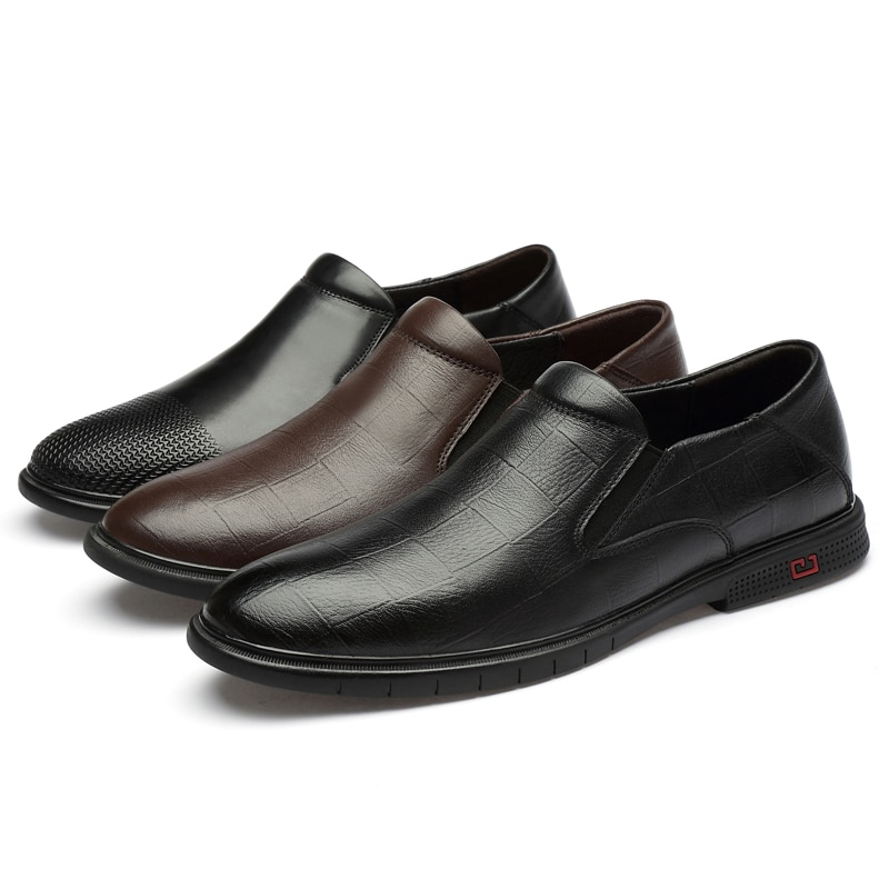 2021 Style Fashion Men's Shoes Casual Genuine Leather Male Classics Brown Black Slip On Shoe Man Derby Shoes For Men Size 36-47