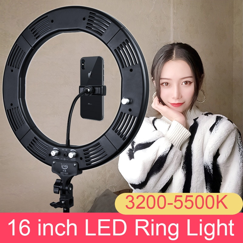 "Estudio fotográfico 16 ""anillo de luz 60W 448 Uds LED Stepless ajustado 3 colores Selfie iluminación con trípode teléfono titular cabeza de bola"